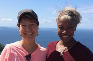 Cathy Saunders and Lisa J. Weiss side-by-side in Hawaii