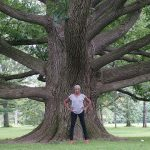 Lisa J. Weiss standing in front of massive tree
